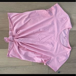 Madewell tie in front short sleeve T pink medium